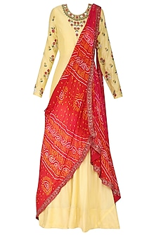 Yellow Embroidered Anarkali Gown with Drape Dupatta