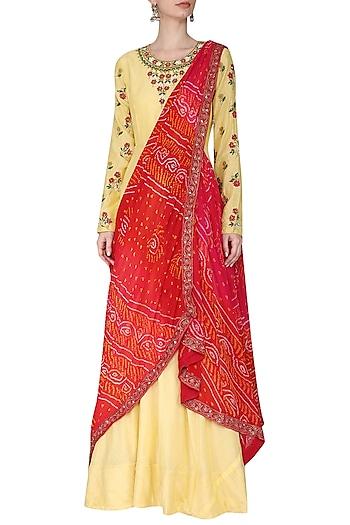 Yellow Embroidered Anarkali Gown with Drape Dupatta by Vasansi Jaipur