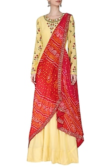 Yellow Embroidered Anarkali Gown with Drape Dupatta by Vasansi Jaipur
