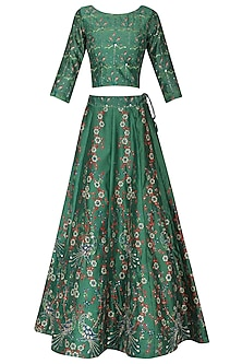 Green and Blue Embellished Lehenga Set