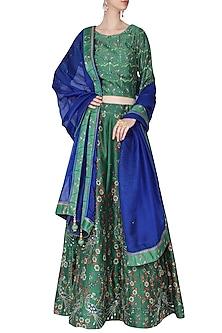 Green and Blue Embellished Lehenga Set by Vasansi Jaipur