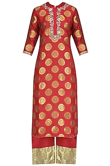 Red Brocade Kurta and Pants Set