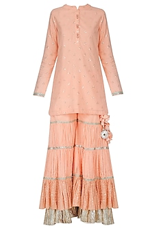 Peach Sequins Embroidered Sharara Set by Vikram Phadnis