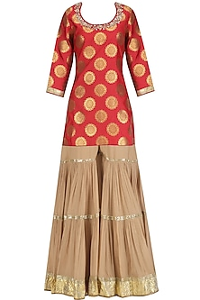 Red Embroidered Short Kurta and Beige Sharara Set