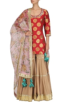 Red Embroidered Short Kurta and Beige Sharara Set by Vikram Phadnis