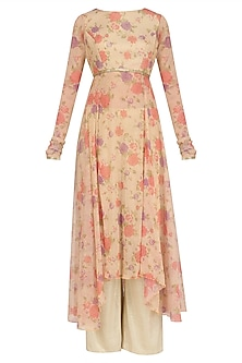 Beige Floral Print Asymmetric Kalidaar and Shimmer Pants Set