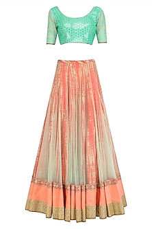 Aqua Sequins Blouse and Tie Dye Embroidered Lehenga Set