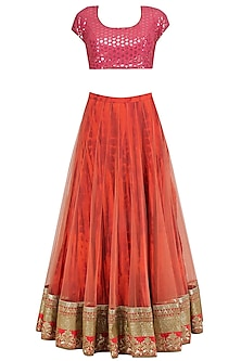 Coral Sequins Blouse with Tie Dye Embroidered Lehenga Set by Vikram Phadnis