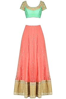 Aqua Sequins Work Blouse with Coral Embrodiered Lehenga Set by Vikram Phadnis