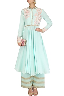 Ice Blue Embroidered Kalidar Pants Set by Vikram Phadnis