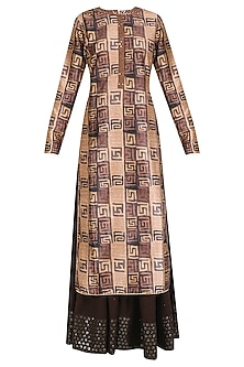 Pink and Brown Printed Straight Fit Kurta with Palazzos Set