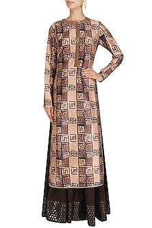 Pink and Brown Printed Straight Fit Kurta with Palazzos Set by Vikram Phadnis