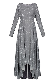 Grey Bird Print Asymmetric Kurta Set With Blue Wide Leg Pants