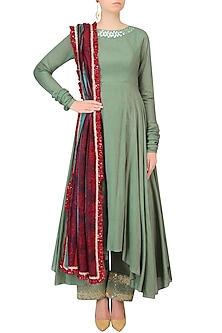 Green Resham Embroidered Asymmetric Kurta Set With Green Sequinned Pants by Vikram Phadnis
