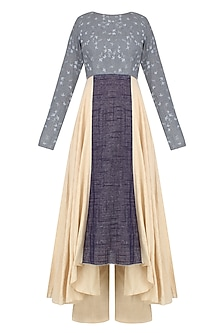 Beige and Blue Dual Toned Bird Print Kurta Set With Beige Pants