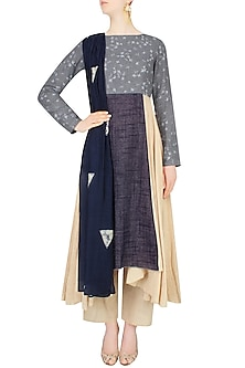 Beige and Blue Dual Toned Bird Print Kurta Set With Beige Pants by Vikram Phadnis