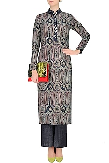 Blue Printed Straight Fit Kurta With Pants by Vikram Phadnis