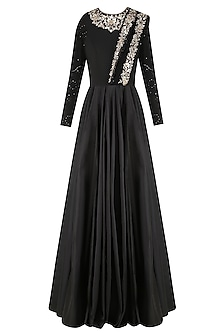 Black Floral Embroidered Anarkali Gown with Attached Dupatta