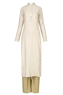 Beige Brocade Motifs Kurta and Gold Pants Set
