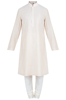 Beige Embroidered Kurta With Churidaar Pants by Vanshik
