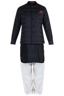 Black Embroidered Bundi jacket With Kurta & Churidaar Pants by Vanshik