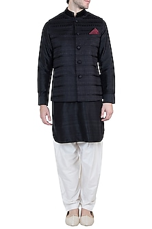 Black Embroidered Bundi jacket With Kurta & Churidaar Pants by Vanshik