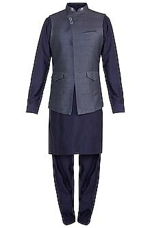 Grey Bundi Jacket With Kurta & Pyjama Pants