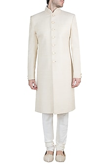 Cream Embroidered Linen Sherwani Kurta With Churidaar Pants by Vanshik