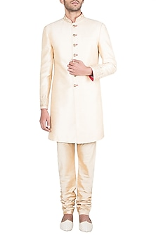 Light Gold Embroidered Sherwani Kurta With Pants by Vanshik