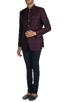 Wine Jodhpuri Jacket by Vanshik