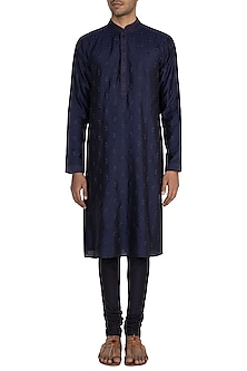 Blue Self Embroidered Kurta Set by Vanshik