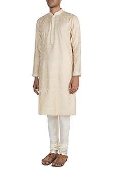 Cream Kantha Embroidered Kurta Set by Vanshik