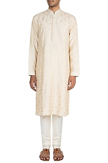 Cream Self Embroidered Kurta Set by Vanshik