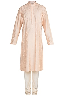 Peach Kashmiri Embroidered Kurta Set by Vanshik