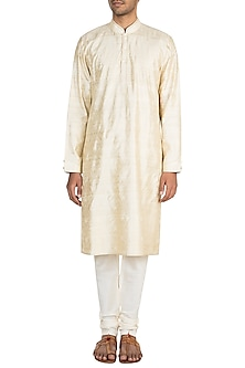 Cream Kantha Embroidered Silk Kurta Set by Vanshik