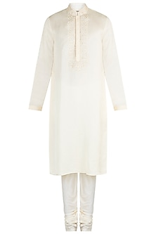 Cream Embroidered Linen Kurta Set by Vanshik