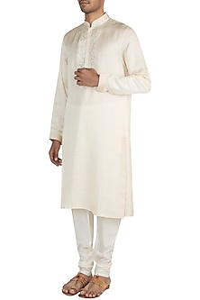 Cream Jamevar Silk Kurta Set by Vanshik
