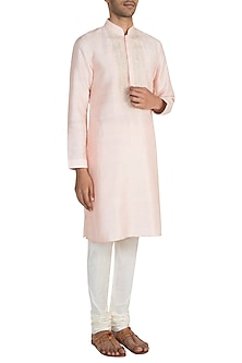 Peach Embroidered Raw Silk Kurta Set by Vanshik