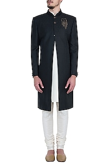 Black Tanchoi Sherwani Set by Vanshik