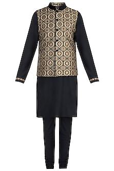 Black Kurta with Churidar Pants and Bundi Jacket