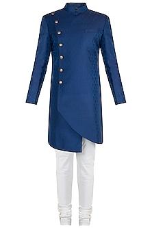 Blue Achkan Kurta with Salwar Pants