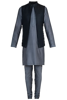 Black Tanchoi Bundi with Kurta and Churidar Pants