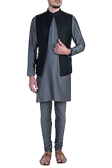 Black Tanchoi Bundi with Kurta and Churidar Pants by Vanshik