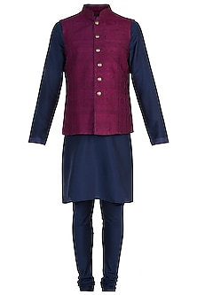 Purple Tanchoi Bundi Jacket with Kurta and Churidar Pants