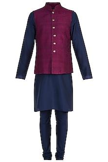 Purple Tanchoi Bundi Jacket with Kurta and Churidar Pants by Vanshik