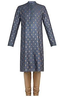 Blue and Olive Embroidered Kurta with Churidar Pants