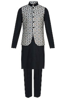 Black Kurta with Churidar Pants and Ivory Bundi Jacket by Vanshik