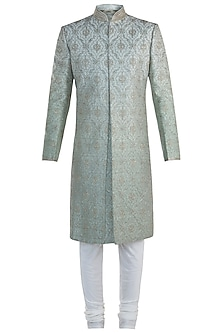 Mint Embroidered Sherwani with Churidar Pants by Vanshik