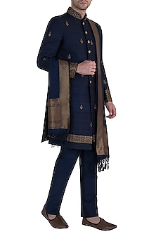 Navy Blue Sherwani Set by Vanshik