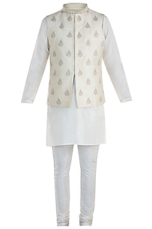 Cream Embroidered Waist Coat with Kurta and Pants